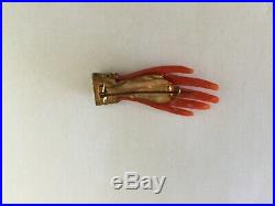 Antique Victorian Coral Hand Brooch