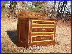 Antique Victorian Country Cottage Hand Painted Chest of Drawers Dresser Commode