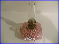 Antique Victorian Cranberry Opalescent Hobbs Snowflake Finger Flat Hand Oil Lamp