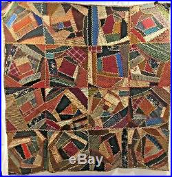 Antique Victorian Crazy Quilt Hand Stitched Embroidered Silk Wool Velvet 66 x 66