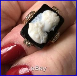 Antique Victorian Diamond, Onyx Hand-Carved Cameo Ring Set In 9ct Rose Gold Sz 5
