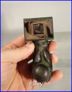 Antique Victorian Door Knocker Ringd Pointed Hand Secret Society Doorbell