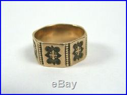 Antique Victorian Edwardian 10K Solid Gold Wide Cigar Band Ring Hand Stamped