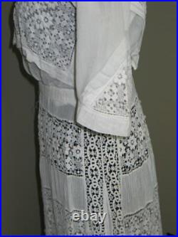 Antique Victorian Edwardian Day DressHand Made Irish Crochet Lace-Bobbin Lace