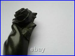 Antique Victorian Edwardian Whitby Jet Hand Brooch Rose Flower Whimsical Goth