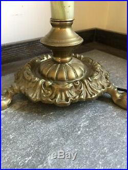 Antique Victorian Electric Double Brass Hurricane Table Lamp Green Marble Hands