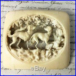 Antique Victorian Era Bohemian Hand Carved Antler or Bone Brooch, 3 Dogs, Hounds