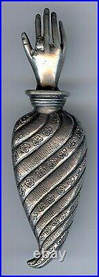 Antique Victorian Era Hallmarked Sterling Silver Tussie Mussie Hand Brooch Pin