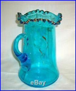 Antique Victorian Era Hand Painted Decorated Daisy Celeste Blue Glass Water Set