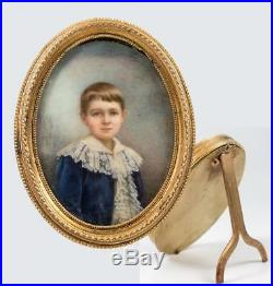 Antique Victorian Era Hand Painted Portrait Miniature of a Young Boy in Blue