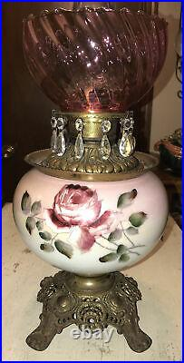 Antique Victorian FOSTORIA Hand Painted GWTW Parlor Lamp Cranberry Swirl Shade