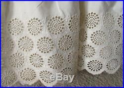 Antique Victorian Fine Buttercream Cotton Hand Embroidered Lace Dress Petticoat