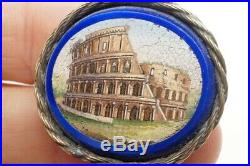 Antique Victorian Finely Hand Crafted Colosseum Rome Micro Mosaic Brooch