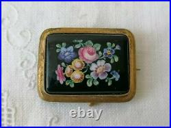 Antique Victorian Flowers Hand Painted Glass Sweetheart Mourning Gilt Pin Brooch