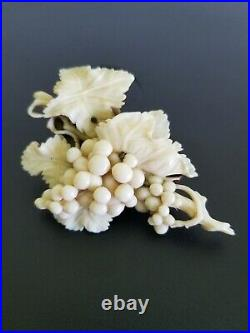 Antique Victorian French Dieppe Hand Carved Grape Vine Brooch, Museum Quality