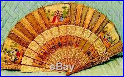 Antique Victorian French Double Sided, Hand Painted, Signed Hand Fan