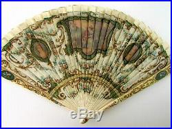 Antique Victorian French Hand Painted 2 Sided Vernis Martin Bone Brise Fan