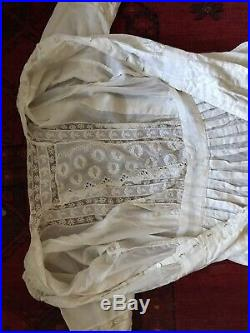 Antique Victorian French Lace Hand Embroidery Ruffles Long White Sweep Dress S M