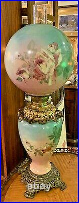 Antique Victorian GWTW Banquet Oil Lamp, Hand Painted Roses, Booth & Haydens