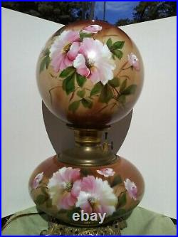 Antique Victorian GWTW Oil Lamp Electrified Hand Painted Flowers 1890s