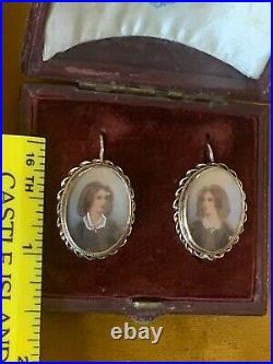 Antique Victorian Gild Sterling Silver Hand Painted Miniature Portrait earrings
