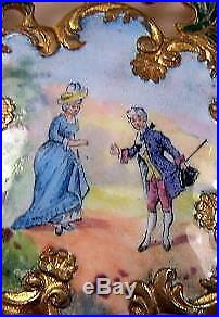 Antique Victorian Gilt Bronze Brooch Pin with Hand Painted Enamel Courting Couple