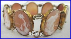 Antique Victorian Gilt Hand Carved Shell Cameo Panel Bracelet