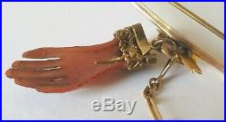 Antique Victorian Gold Coral Hand Brooch