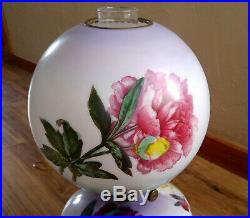 Antique Victorian Gone With The Wind Oil Lamp, Hand Painted Peonies, Electrified