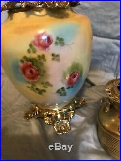 Antique Victorian Gone with the Wind Oil Lamp Hand Painted Roses Fostoria