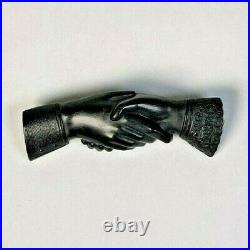 Antique Victorian Gutta Percha Mourning Goth Clasping Hands Jewelry Brooch Pin