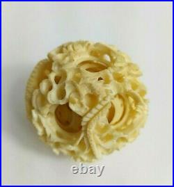 Antique Victorian Hand Carved Bovine Bone Puzzle Ball on Stand 4.75 Chinese