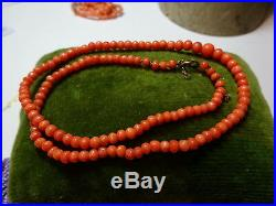 Antique Victorian Hand Carved Graduated Natural Coral Beads Necklace Gold Clasp