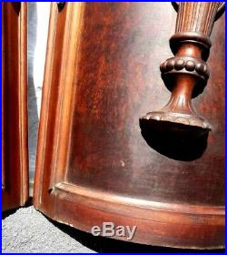 Antique Victorian Hand Carved Mahogany Matching Pair Curved Doors Salvage Beauty