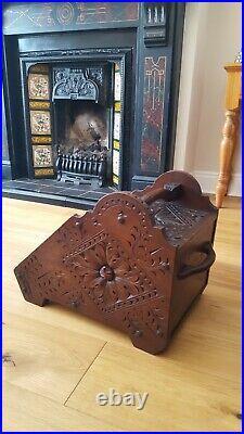 Antique Victorian Hand Carved Oak Wood Coal Scuttle Purdonium Fireside Log Box