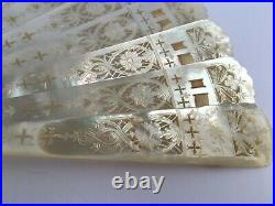 Antique Victorian Hand Carved / Pierced Mother Of Pearl Brise Fan