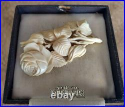 Antique Victorian Hand Carved Rose Flower Floral Brooch Pin Beautiful Gift
