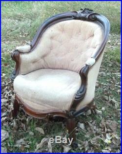 Antique Victorian Hand Carved Walnut Barrel Back Tub Chair