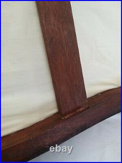 Antique Victorian Hand Carved Wood Miniature Child Doll Sofa Settee