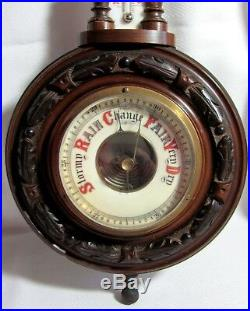 Antique Victorian Hand Carved Wood Wall Barometer with Milk Glass Thermometer 15
