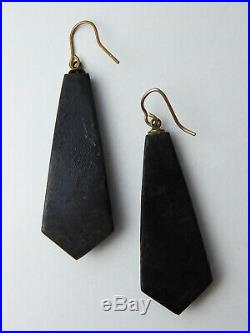 Antique Victorian Hand Cut 9ct Gold & Silver Pique Earrings