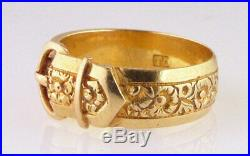 Antique Victorian Hand Engraved 18Kt Yellow Gold Buckle Ring Band 6.6 Grams