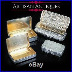 Antique Victorian Hand Engraved Solid Silver Snuff Box Birmingham 1851