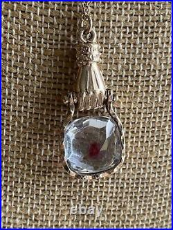 Antique Victorian Hand Holding Red Dot Paste Gold Filled Pendant Necklace