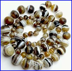 Antique Victorian Hand Knotted Graduated Banded Agate Bead Necklace 38 Long