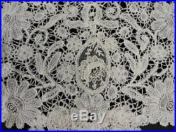 Antique Victorian Hand Made Mixed Brussels Floral Lace Collar For Dress