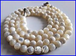 Antique Victorian Hand Made Mother Of Pearl Beads Necklace
