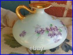 Antique Victorian Hand Painted Cherub Portrait Violets Floral Porcelain Ewer