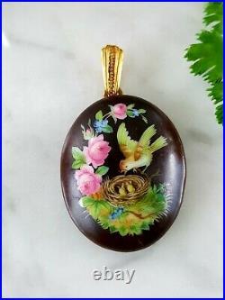 Antique Victorian Hand Painted Enamel Open Face Locket Bird Nest Flowers