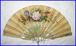 Antique Victorian Hand Painted Fan Mother of Pearl Sticks Circa 1870